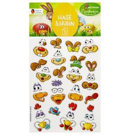 Sticker Hasen/Huhn-Gesichter